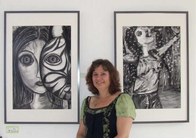 Donna Jacobs with drawings of daughter Bronwyn