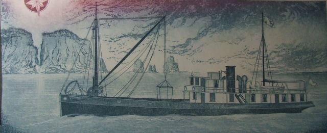 Osler's etching of The Kipawo with Cape Split in background