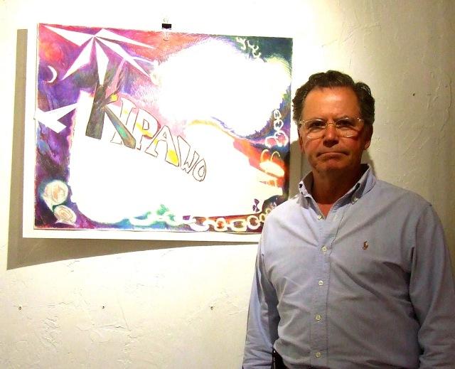 Stephen Osler with unfinished drawing of Kipawo