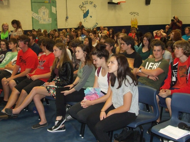 Parrsboro students listen intently as the federal election candidates speak
