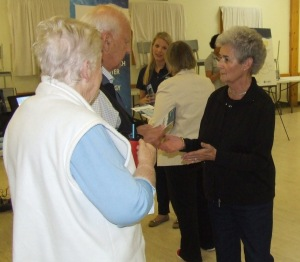 Mayor Smith (R) talks to people at an open house on tidal power last week