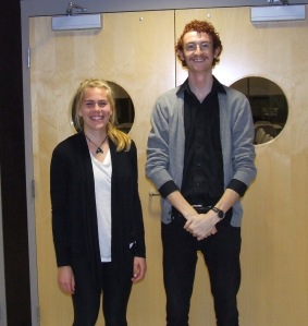 Claire Neufeld and Will Balser outside Council Chamber