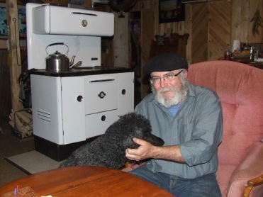 Charles Theriault with his poodle Gaia