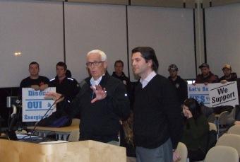 TransCanada officials Steve Morck (L) and Patrick LaCroix