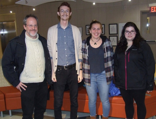 L-R Prof. Brad Walters with students Will Balser, Claire Neufeld, Mara Ostafichuk