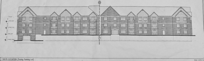 News and views about sackville new brunswick and vicinity artists drawing showing building with gables and loft spaces at either end underground parking entrance is at the left end click to enlarge spiritdancerdesigns Choice Image
