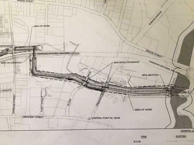 News and views about sackville new brunswick and vicinity drawing shows the route of ditches and pipes under charles st and the cn rail line then out to new aboiteau spiritdancerdesigns Choice Image